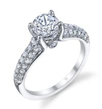 2 Row Diamond Engagement Ring